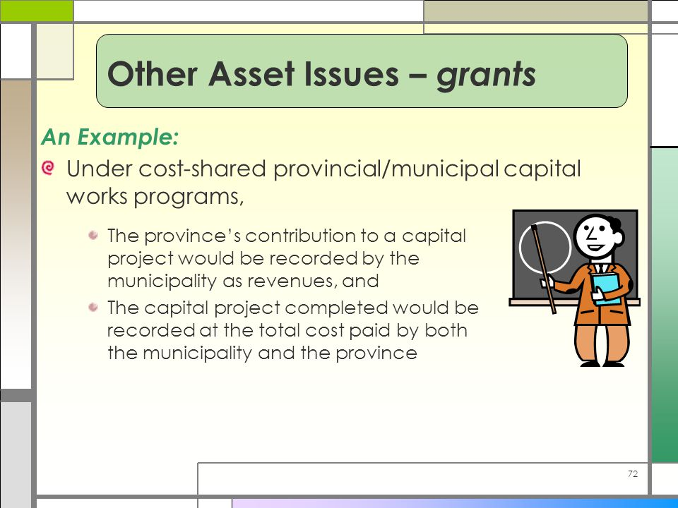 72 An Example: Under cost-shared provincial/municipal capital works programs, The province's contribution to a capital project would be recorded by th