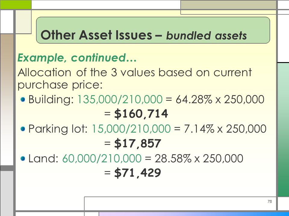 78 Example, continued… Allocation of the 3 values based on current purchase price: Building: 135,000/210,000 = 64.28% x 250,000 = $160,714 Parking lot: 15,000/210,000 = 7.14% x 250,000 = $17,857 Land: 60,000/210,000 = 28.58% x 250,000 = $71,429 Other Asset Issues – bundled assets
