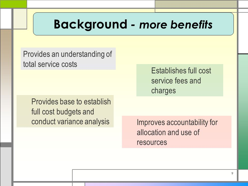99 Background - more benefits Provides an understanding of total service costs Establishes full cost service fees and charges Provides base to establish full cost budgets and conduct variance analysis Improves accountability for allocation and use of resources