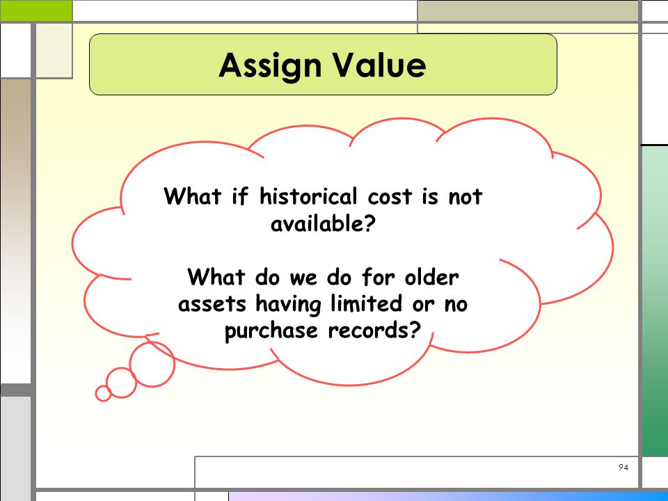 94 Assign Value What if historical cost is not available? What do we do for older assets having limited or no purchase records?