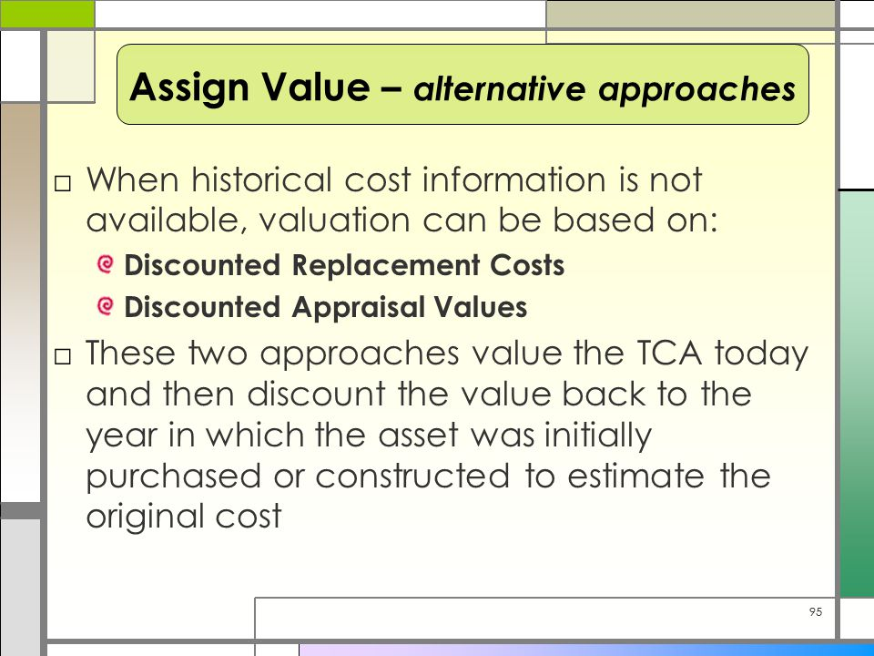 95 □When historical cost information is not available, valuation can be based on: Discounted Replacement Costs Discounted Appraisal Values □These two