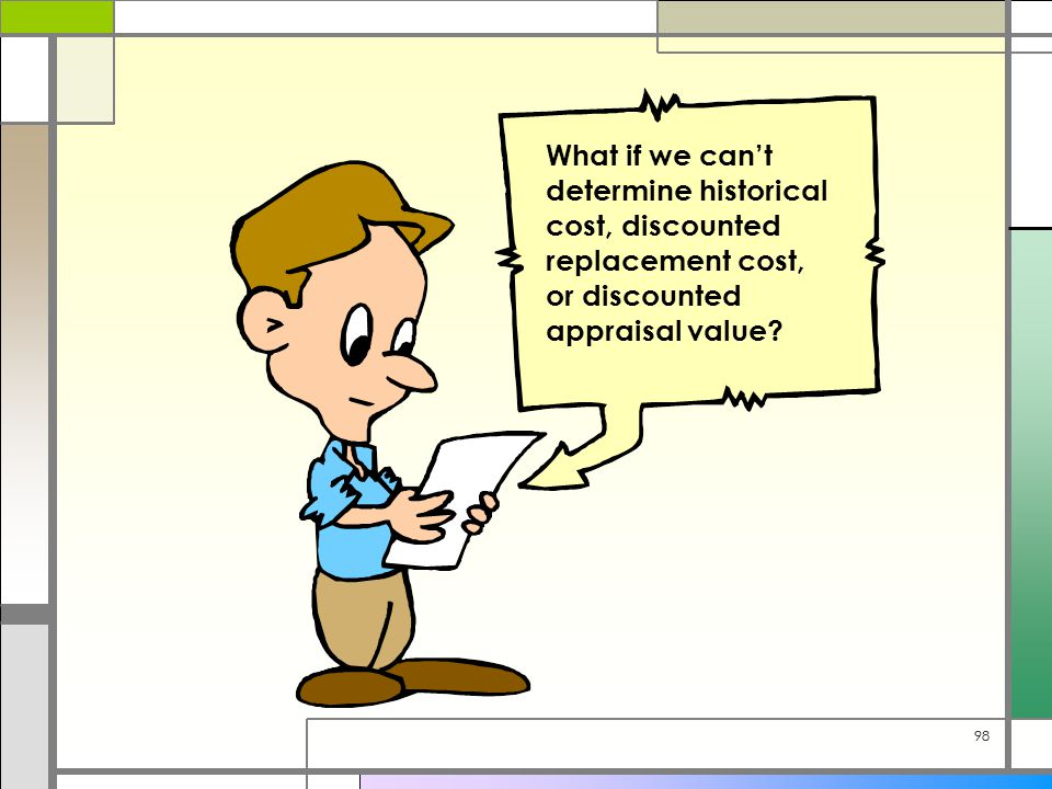 98 What if we can't determine historical cost, discounted replacement cost, or discounted appraisal value?