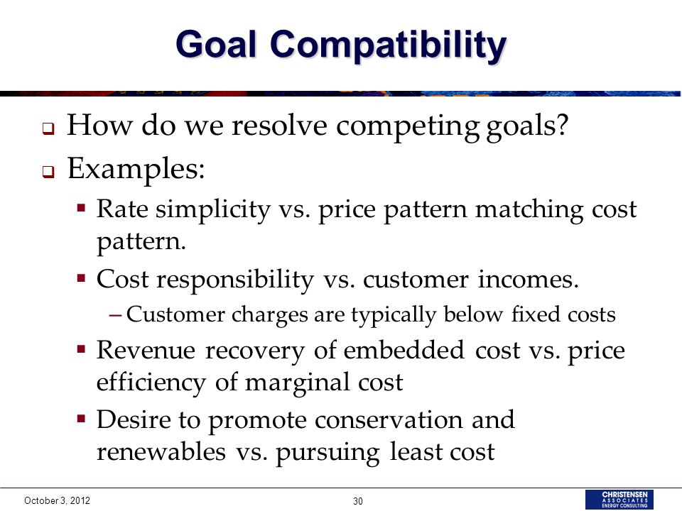 October 3, 2012 30 Goal Compatibility  How do we resolve competing goals?  Examples:  Rate simplicity vs. price pattern matching cost pattern.  Co