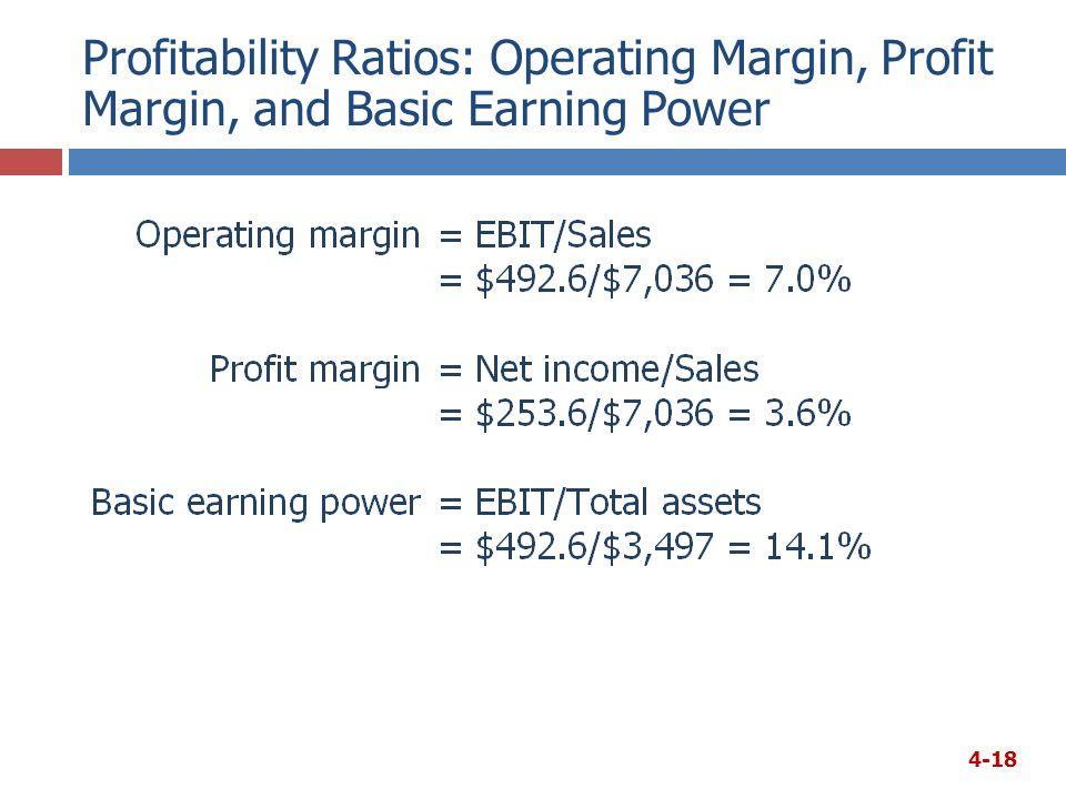 Profitability Ratios: Operating Margin, Profit Margin, and Basic Earning Power 4-18