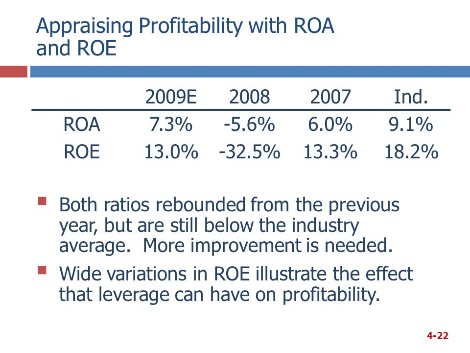 Appraising Profitability with ROA and ROE 2009E20082007Ind.