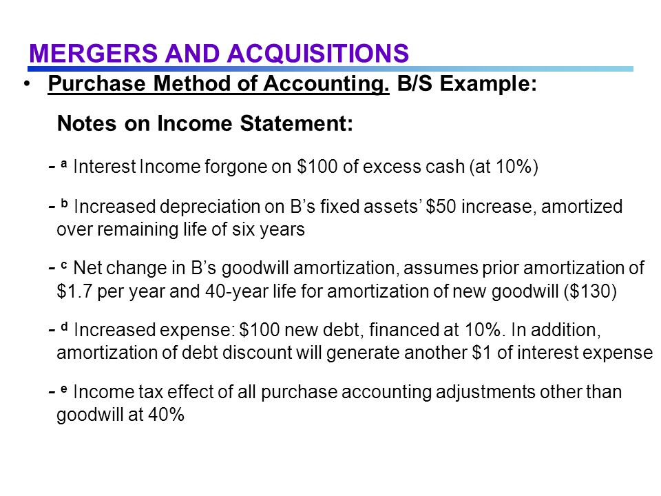 Purchase Method of Accounting.