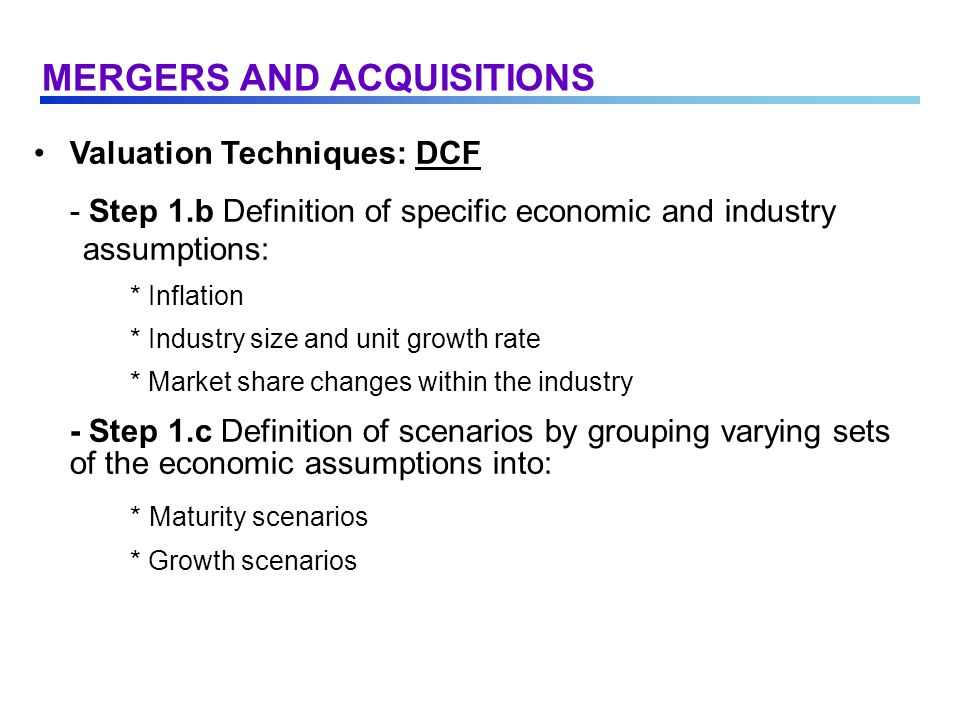 Valuation Techniques: DCF - Example: MERGERS AND ACQUISITIONS