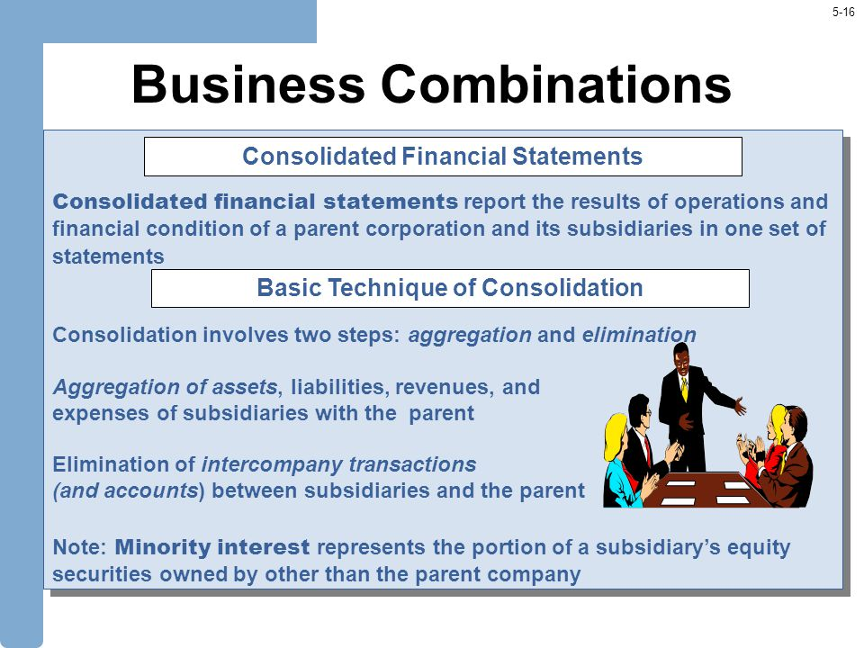 5-16 Business Combinations Consolidated financial statements report the results of operations and financial condition of a parent corporation and its subsidiaries in one set of statements Consolidation involves two steps: aggregation and elimination Aggregation of assets, liabilities, revenues, and expenses of subsidiaries with the parent Elimination of intercompany transactions (and accounts) between subsidiaries and the parent Note: Minority interest represents the portion of a subsidiary's equity securities owned by other than the parent company Consolidated financial statements report the results of operations and financial condition of a parent corporation and its subsidiaries in one set of statements Consolidation involves two steps: aggregation and elimination Aggregation of assets, liabilities, revenues, and expenses of subsidiaries with the parent Elimination of intercompany transactions (and accounts) between subsidiaries and the parent Note: Minority interest represents the portion of a subsidiary's equity securities owned by other than the parent company Consolidated Financial Statements Basic Technique of Consolidation