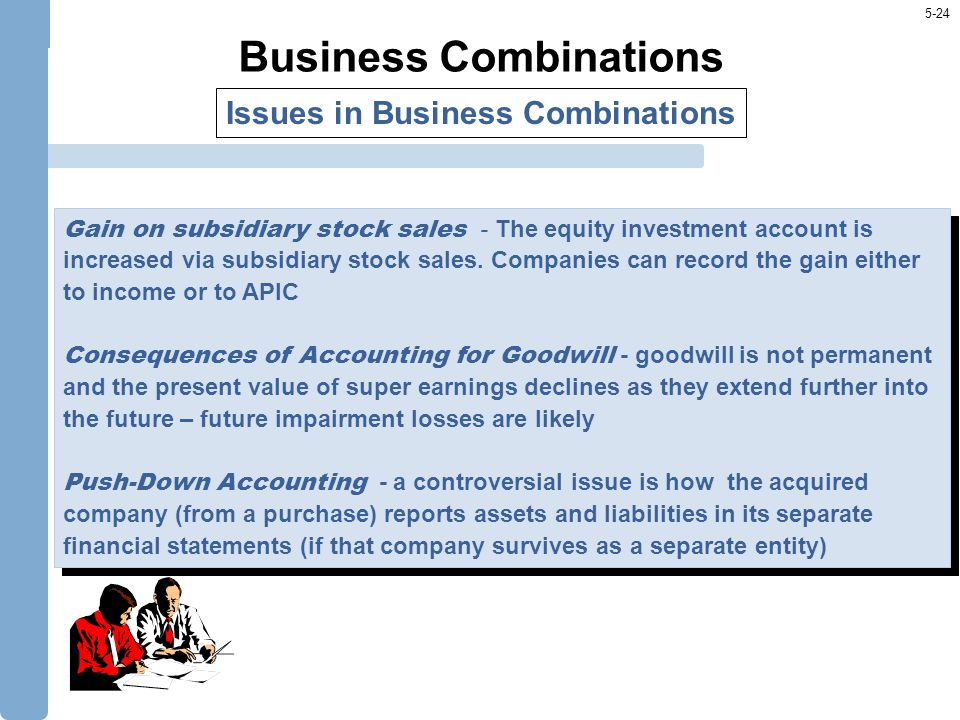 5-24 Business Combinations Issues in Business Combinations Gain on subsidiary stock sales - The equity investment account is increased via subsidiary stock sales.