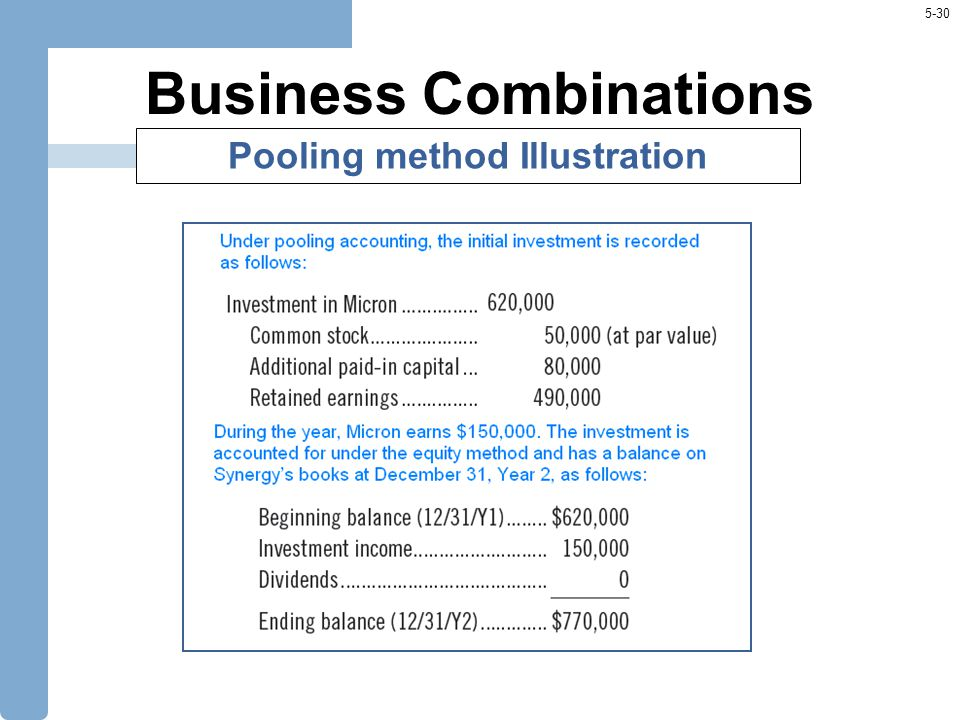 5-30 Business Combinations Pooling method Illustration