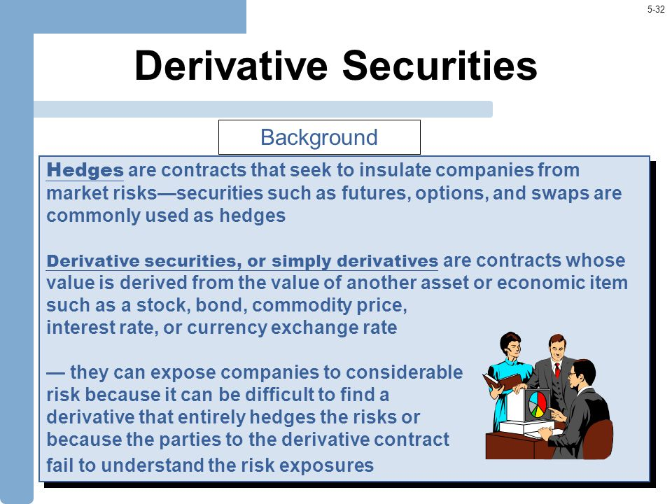 5-32 Derivative Securities Hedges are contracts that seek to insulate companies from market risks—securities such as futures, options, and swaps are c