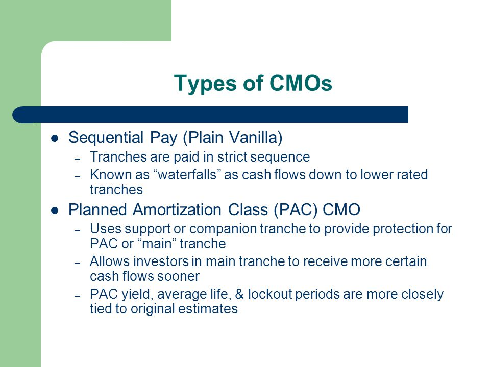 Types of CMOs Sequential Pay (Plain Vanilla) – Tranches are paid in strict sequence – Known as waterfalls as cash flows down to lower rated tranches Planned Amortization Class (PAC) CMO – Uses support or companion tranche to provide protection for PAC or main tranche – Allows investors in main tranche to receive more certain cash flows sooner – PAC yield, average life, & lockout periods are more closely tied to original estimates