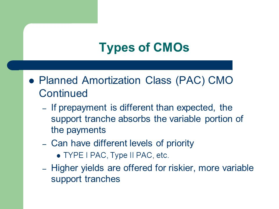 Types of CMOs Planned Amortization Class (PAC) CMO Continued – If prepayment is different than expected, the support tranche absorbs the variable portion of the payments – Can have different levels of priority TYPE I PAC, Type II PAC, etc.