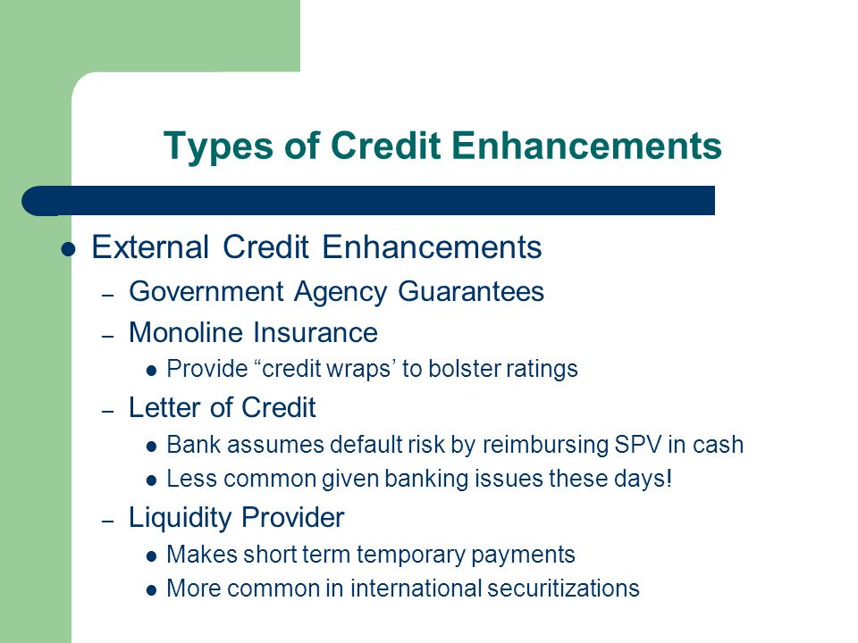 Types of Credit Enhancements External Credit Enhancements – Government Agency Guarantees – Monoline Insurance Provide credit wraps' to bolster ratings – Letter of Credit Bank assumes default risk by reimbursing SPV in cash Less common given banking issues these days.