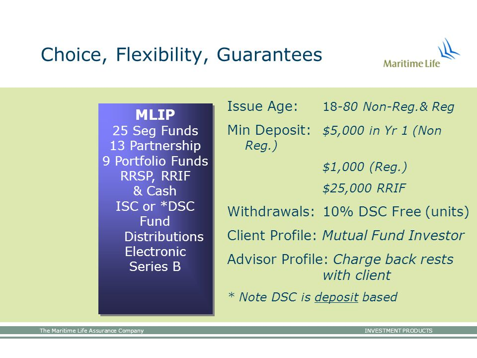 The Maritime Life Assurance Company INVESTMENT PRODUCTS MLIP 25 Seg Funds 13 Partnership 9 Portfolio Funds RRSP, RRIF & Cash ISC or *DSC Fund Distributions Electronic Series B Choice, Flexibility, Guarantees Issue Age: 18-80 Non-Reg.& Reg Min Deposit: $5,000 in Yr 1 (Non Reg.) $1,000 (Reg.) $25,000 RRIF Withdrawals:10% DSC Free (units) Client Profile: Mutual Fund Investor Advisor Profile: Charge back rests with client * Note DSC is deposit based