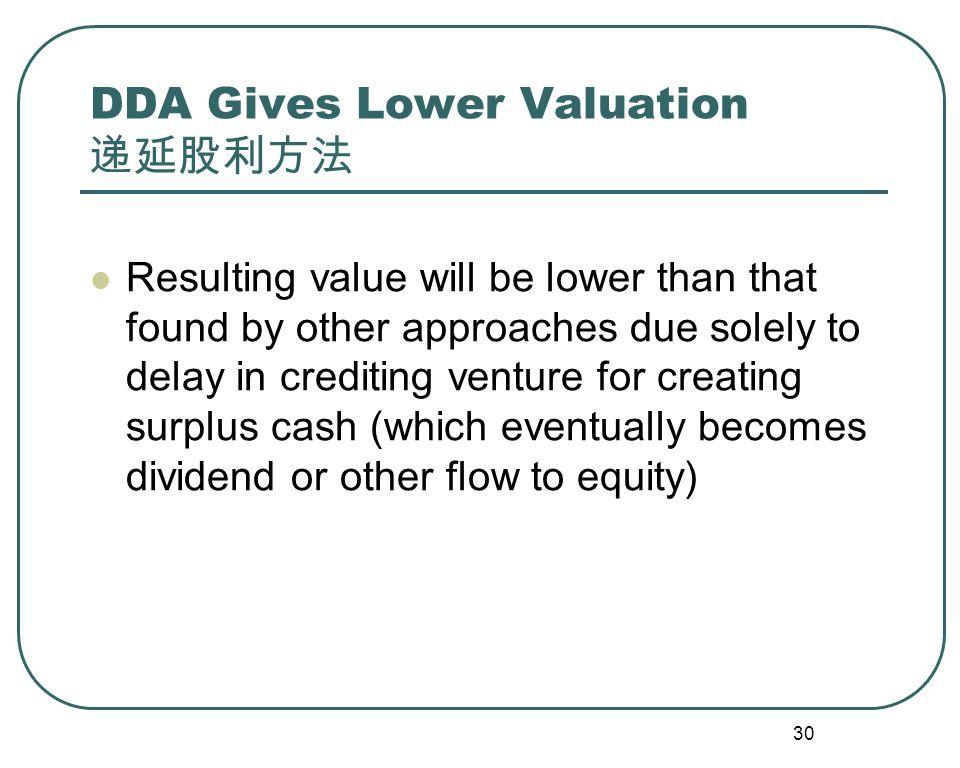 31 DDA Income Statements (first dividend in year 5) 递延股利方法例题