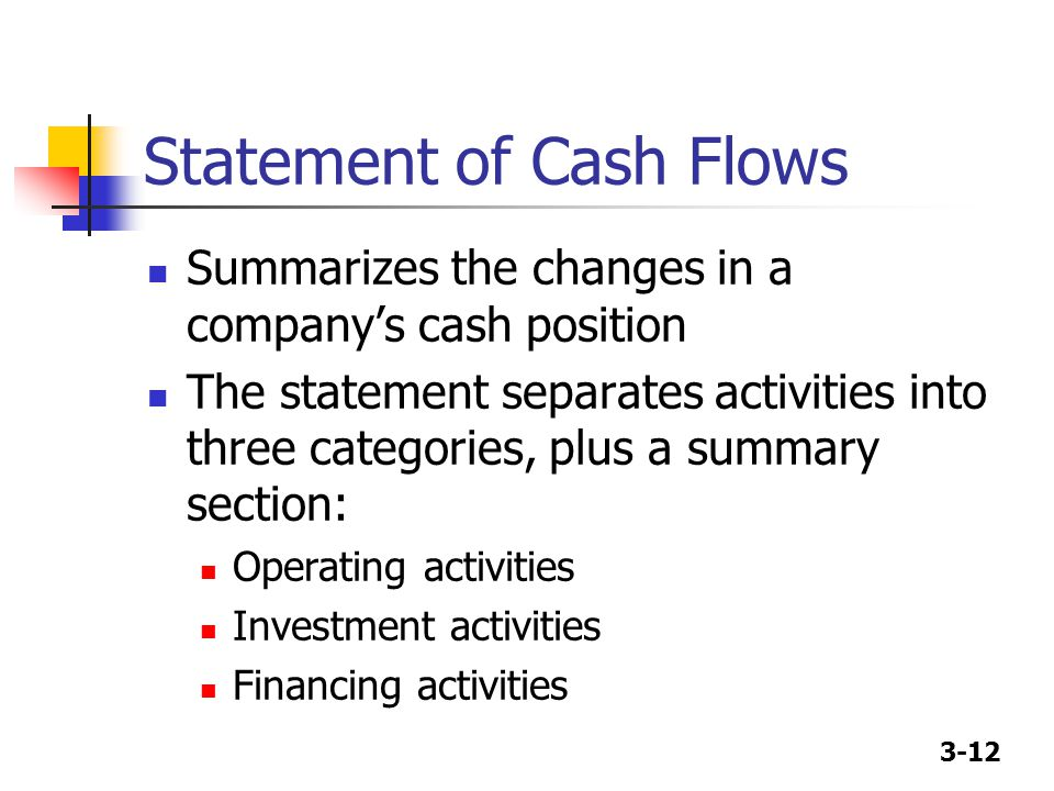 3-12 Statement of Cash Flows Summarizes the changes in a company's cash position The statement separates activities into three categories, plus a summ