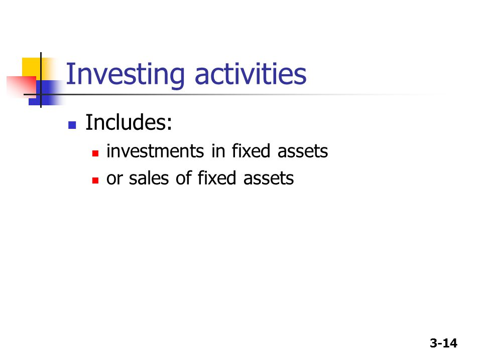 3-14 Investing activities Includes: investments in fixed assets or sales of fixed assets