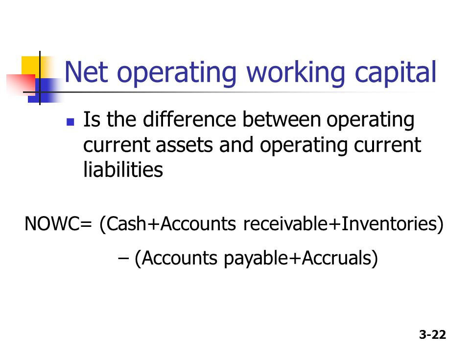 3-22 Net operating working capital Is the difference between operating current assets and operating current liabilities NOWC= (Cash+Accounts receivabl
