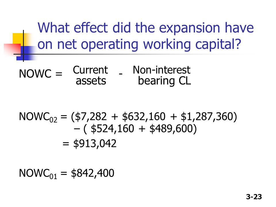 3-23 What effect did the expansion have on net operating working capital? NOWC = Current - Non-interest assets bearing CL NOWC 02 = ($7,282 + $632,160