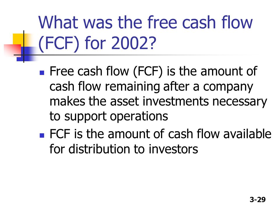 3-29 What was the free cash flow (FCF) for 2002? Free cash flow (FCF) is the amount of cash flow remaining after a company makes the asset investments