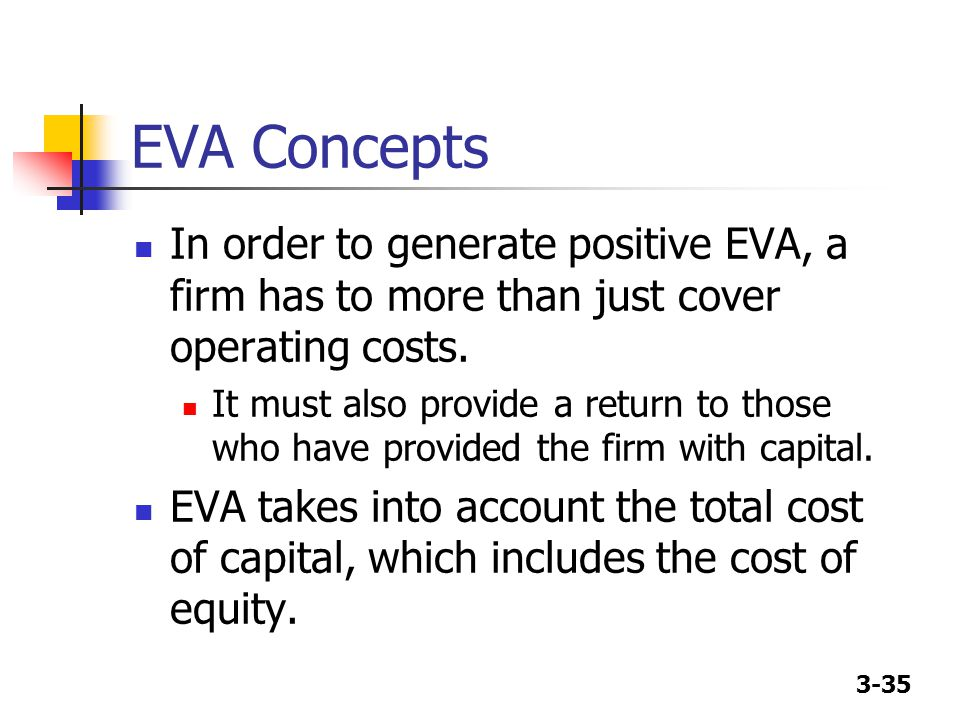 3-35 EVA Concepts In order to generate positive EVA, a firm has to more than just cover operating costs. It must also provide a return to those who ha