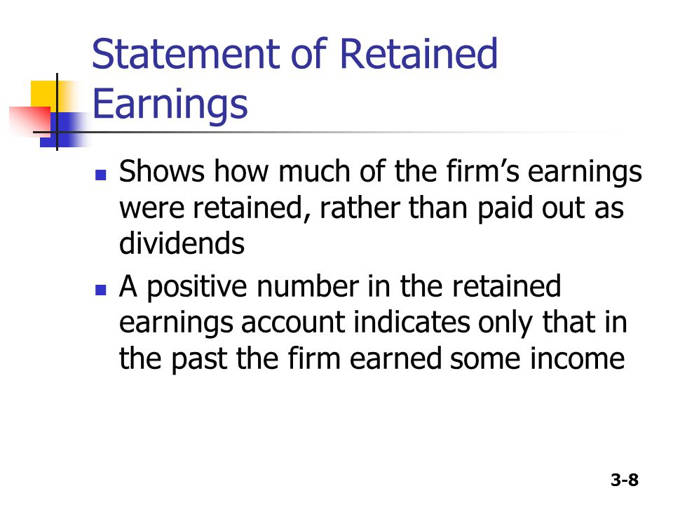 3-9 Statement of Retained Earnings (2002) Balance of retained earnings, 12/31/01 Add: Net income, 2002 Less: Dividends paid Balance of retained earnings, 12/31/02 $203,768 (160,176) (11,000) $32,592