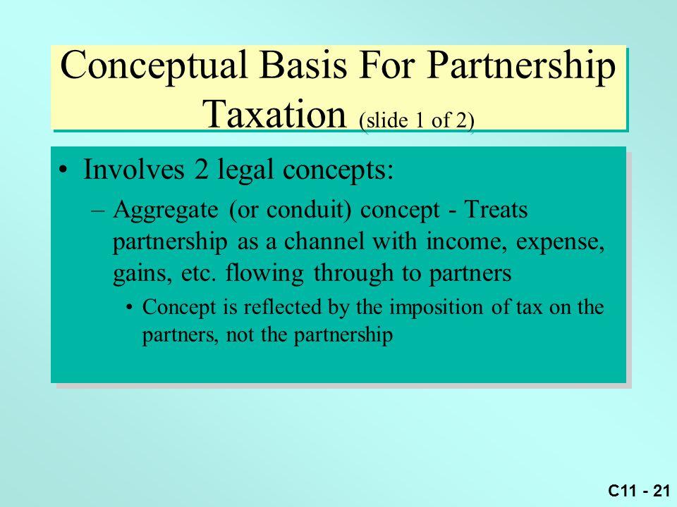 C11 - 21 Conceptual Basis For Partnership Taxation (slide 1 of 2) Involves 2 legal concepts: –Aggregate (or conduit) concept - Treats partnership as a