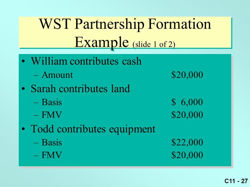 C11 - 27 WST Partnership Formation Example (slide 1 of 2) William contributes cash –Amount$20,000 Sarah contributes land –Basis$ 6,000 –FMV$20,000 Tod