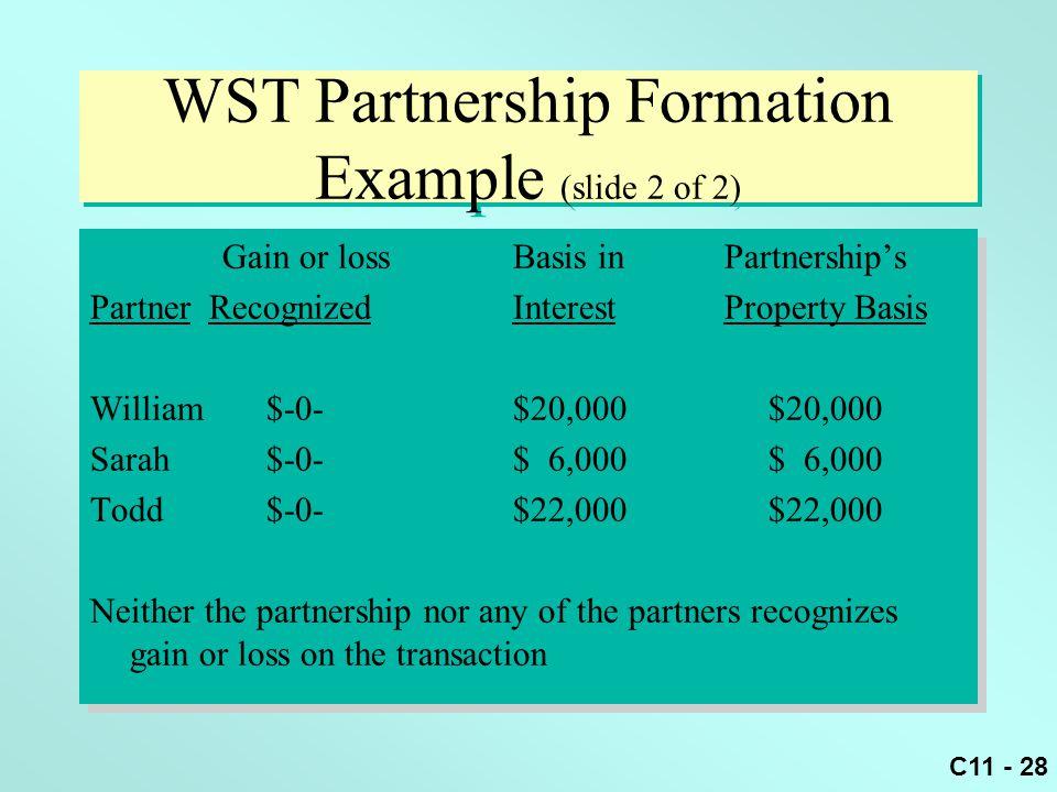 C11 - 28 WST Partnership Formation Example (slide 2 of 2) Gain or lossBasis inPartnership's Partner RecognizedInterestProperty Basis William $-0-$20,0