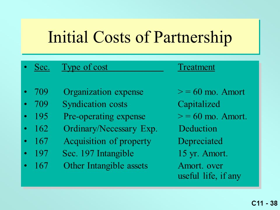 C11 - 38 Initial Costs of Partnership Sec. Type of cost Treatment 709 Organization expense > = 60 mo. Amort 709 Syndication costs Capitalized 195 Pre-
