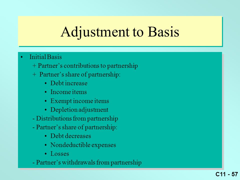 C11 - 57 Adjustment to Basis Initial Basis + Partner's contributions to partnership + Partner's share of partnership: Debt increase Income items Exemp