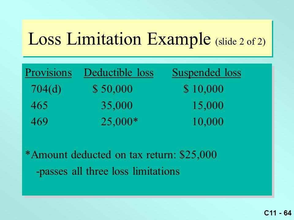 C11 - 64 Loss Limitation Example (slide 2 of 2) ProvisionsDeductible lossSuspended loss 704(d) $ 50,000 $ 10,000 465 35,000 15,000 469 25,000* 10,000