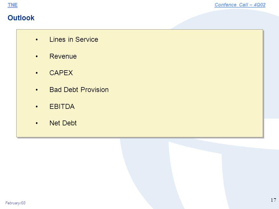 February/03 17 Lines in Service Revenue CAPEX Bad Debt Provision EBITDA Net Debt Outlook TNE TNEConfence Call – 4Q02
