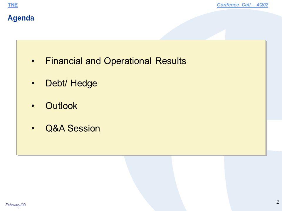 February/03 13 Debt Profile – Net Debt (R$ Million) TNE TNEConfence Call – 4Q02 8,317 9,128 9,006 1Q022Q023Q02 8,673 448 - 4Q02 Pegasus 9,121