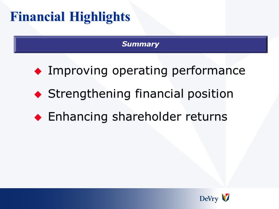 Financial Highlights  Improving operating performance  Strengthening financial position  Enhancing shareholder returns Summary