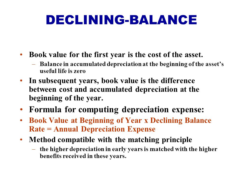 Book value for the first year is the cost of the asset. –Balance in accumulated depreciation at the beginning of the asset's useful life is zero In su