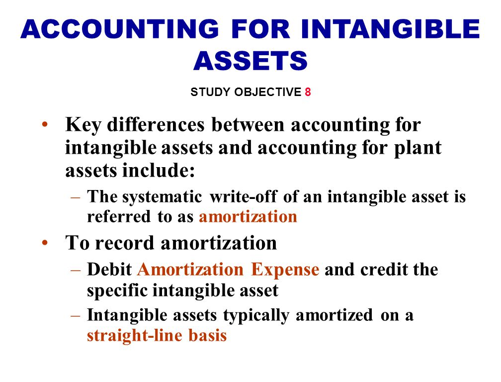 Key differences between accounting for intangible assets and accounting for plant assets include: –The systematic write-off of an intangible asset is