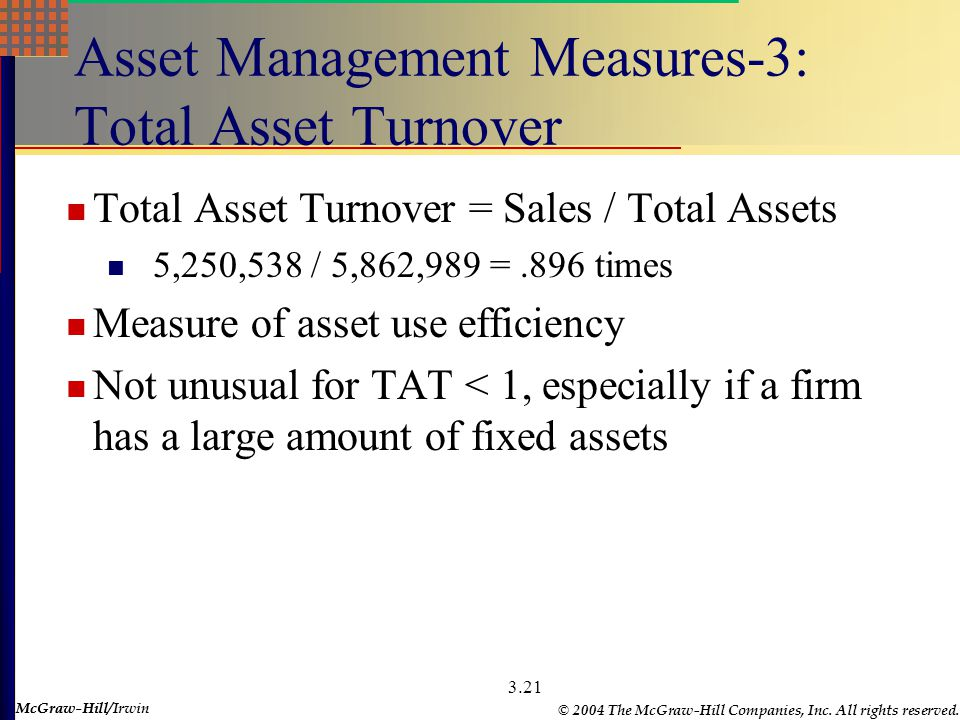 McGraw-Hill © 2004 The McGraw-Hill Companies, Inc. All rights reserved. McGraw-Hill/Irwin 3.20 Asset Management Measures-2: Receivables Ratios Receiva