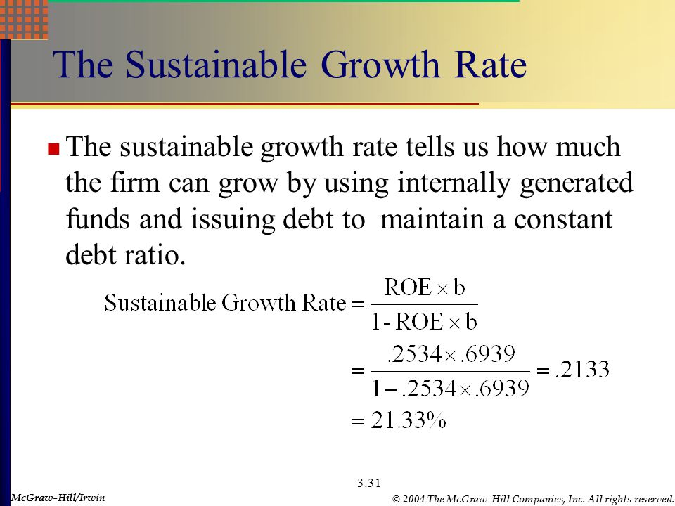 McGraw-Hill © 2004 The McGraw-Hill Companies, Inc. All rights reserved. McGraw-Hill/Irwin 3.30 The Internal Growth Rate The internal growth rate tells