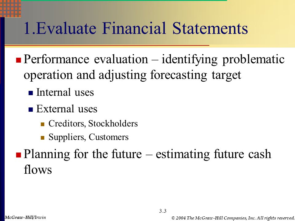 McGraw-Hill © 2004 The McGraw-Hill Companies, Inc. All rights reserved. McGraw-Hill/Irwin 3.2 Chapter Outline 1. Why Evaluate Financial Statements? 2.
