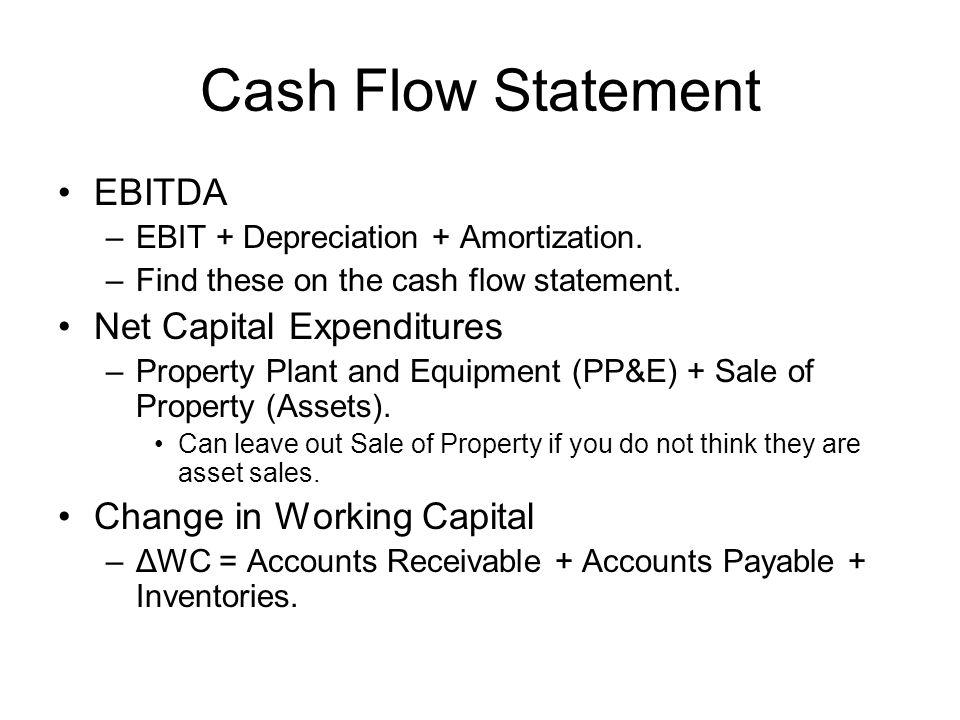 Cash Flow Statement EBITDA –EBIT + Depreciation + Amortization.