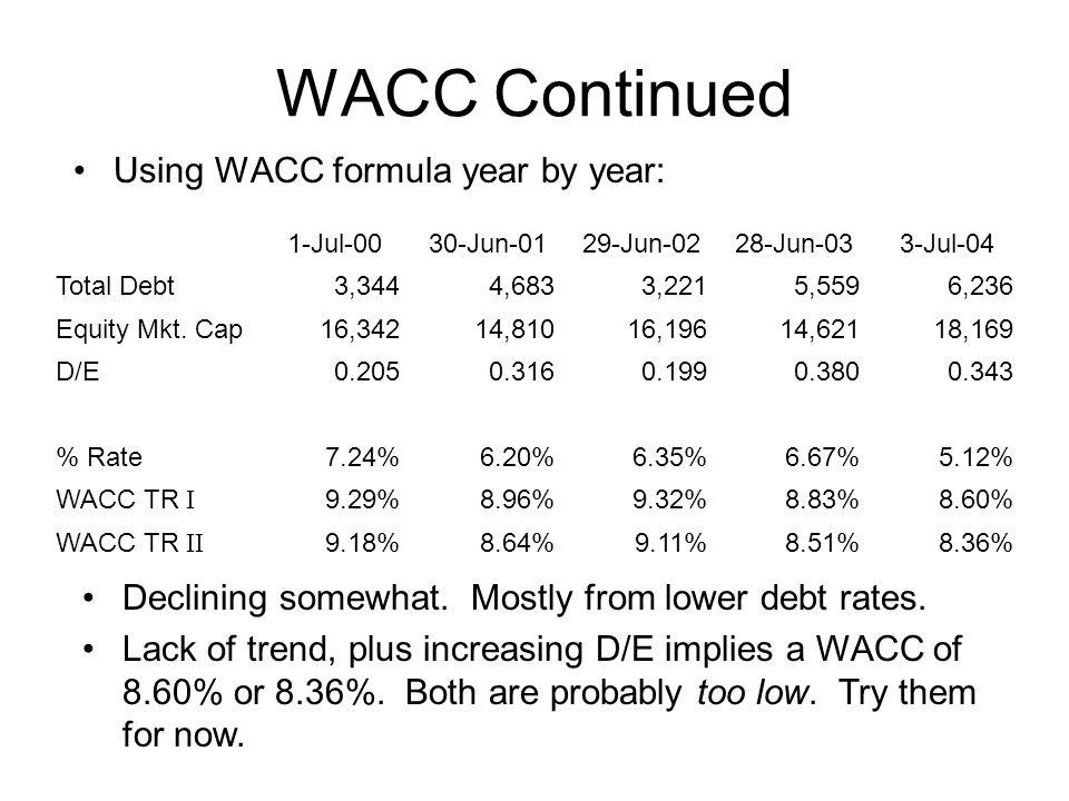 WACC Continued Using WACC formula year by year: 1-Jul-0030-Jun-0129-Jun-0228-Jun-033-Jul-04 Total Debt3,3444,6833,2215,5596,236 Equity Mkt.
