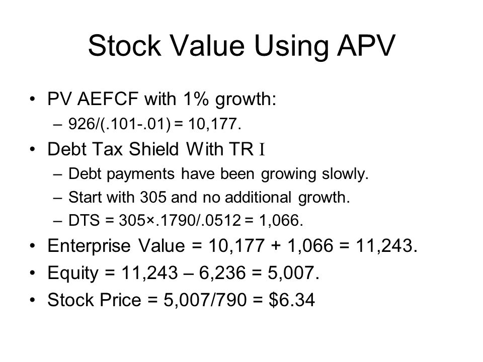 Stock Value Using APV PV AEFCF with 1% growth: –926/(.101-.01) = 10,177.