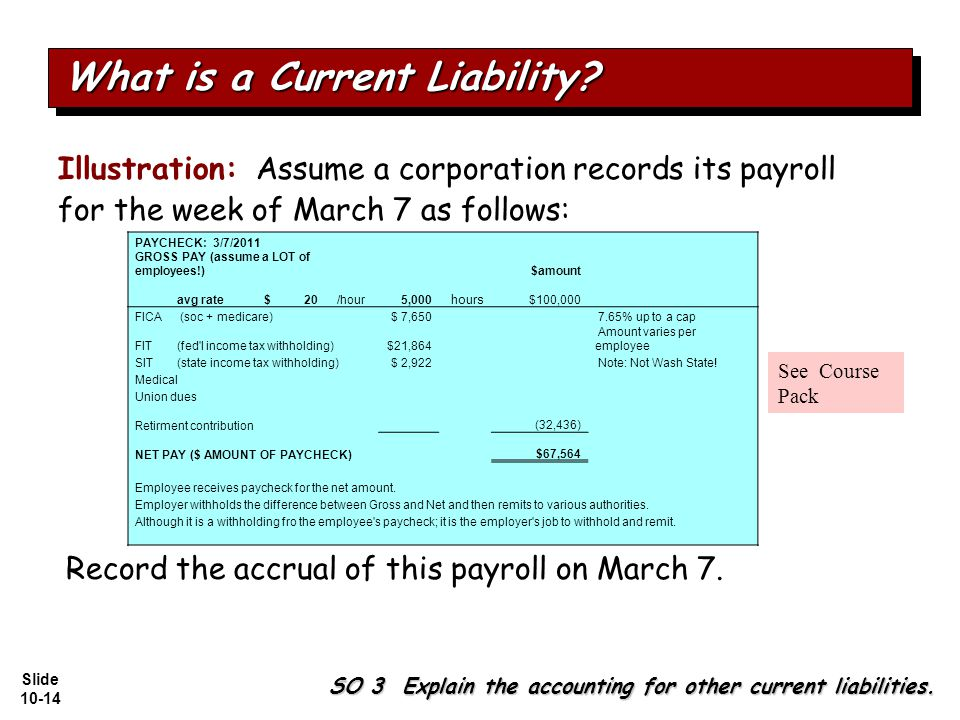 Slide 10-14 Illustration: Assume a corporation records its payroll for the week of March 7 as follows: SO 3 Explain the accounting for other current liabilities.
