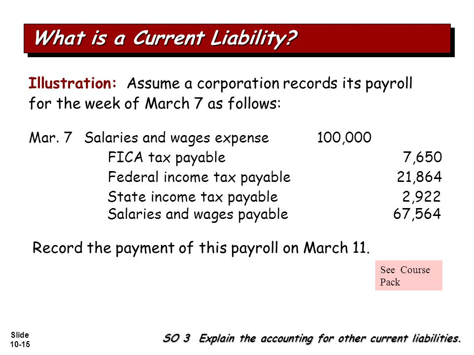 Slide 10-15 Illustration: Assume a corporation records its payroll for the week of March 7 as follows: Salaries and wages expense100,000 Federal income tax payable21,864 FICA tax payable7,650 State income tax payable2,922 Salaries and wages payable67,564 SO 3 Explain the accounting for other current liabilities.