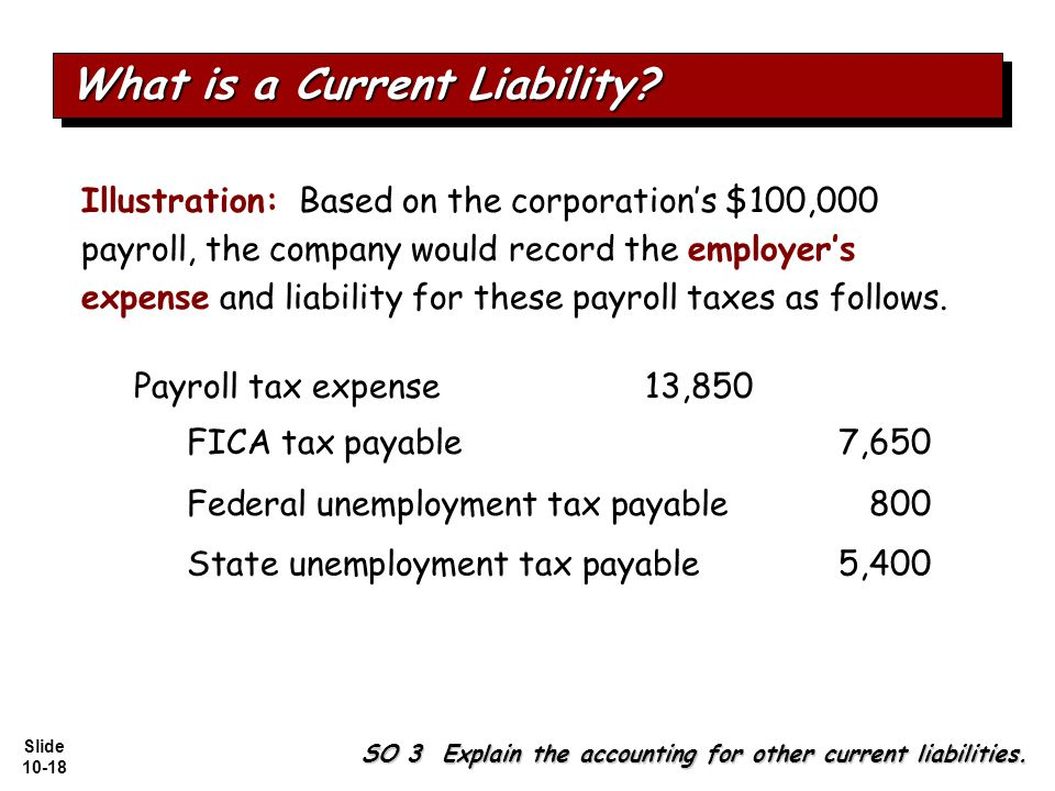 Slide 10-18 Illustration: Based on the corporation's $100,000 payroll, the company would record the employer's expense and liability for these payroll taxes as follows.