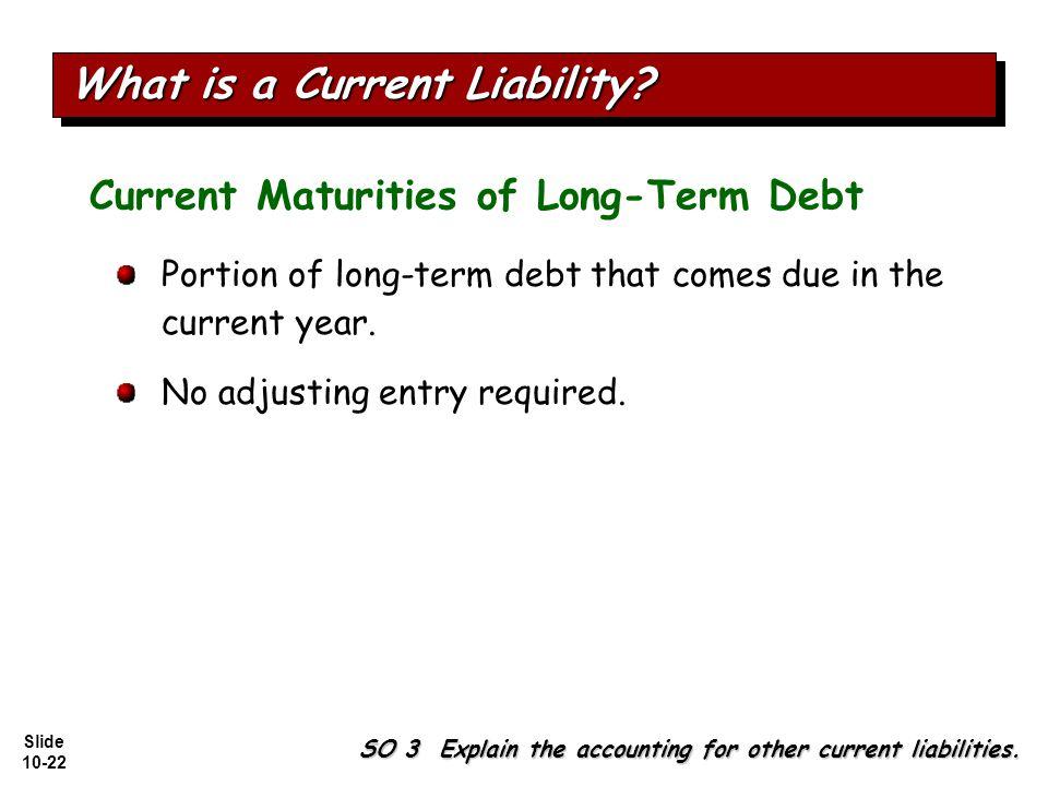Slide 10-22 Current Maturities of Long-Term Debt Portion of long-term debt that comes due in the current year.
