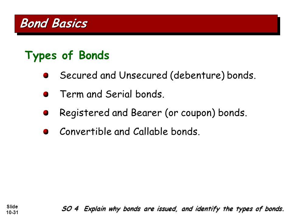 Slide 10-31 Types of Bonds Secured and Unsecured (debenture) bonds.