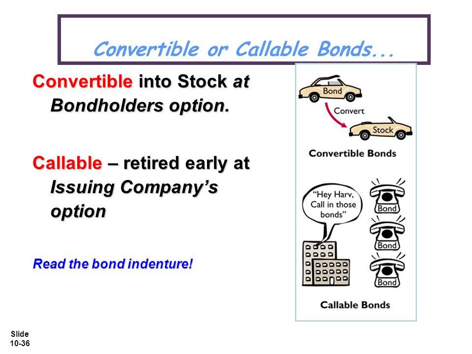 Slide 10-36 Convertible or Callable Bonds... Convertible into Stock at Bondholders option.